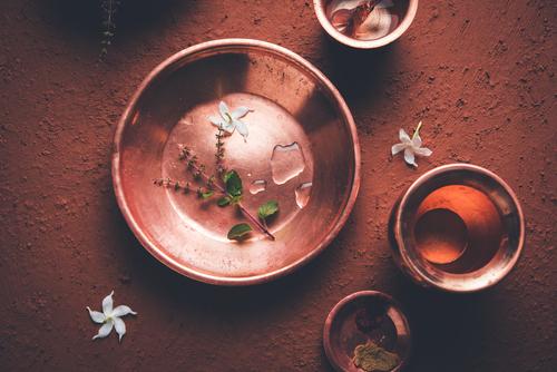 Sandhya,Vandanam,Kriya, ,Copper,Utensils,Like,Kalash,,Glass,,Spoon